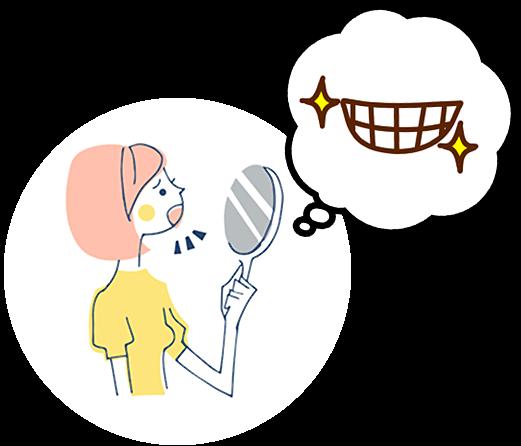 鏡で歯を見ている女性
