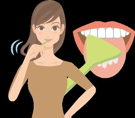 舌磨きをする女性